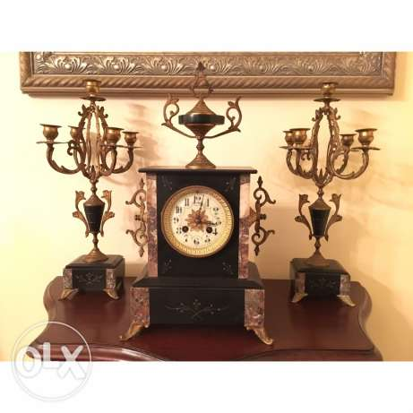 french horloge antique marble and bronze al working