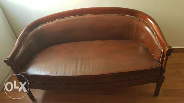 Wood & real leather couch