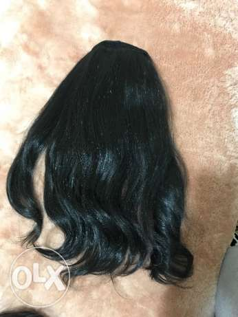 Synthetic black pony tail extension