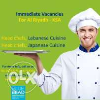 Lebanese Head Chefs for Riyadh -KSA