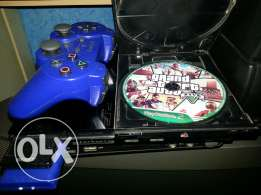 PS2 slim with gta5 ps2 edition and a wirless DUALSHOCK 2 controller