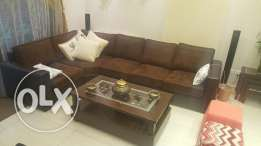 1 L shaped couch + table