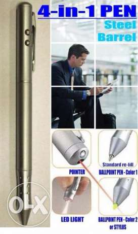 Steel Pen 4-in-1 Ballpoint Pen + Stylus/Color 2 + Led Light + Laser