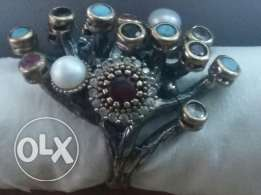 Original ring for women silver very old with semi precious stone.