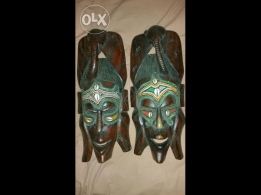 2 handmade African masks in a good condition for sale