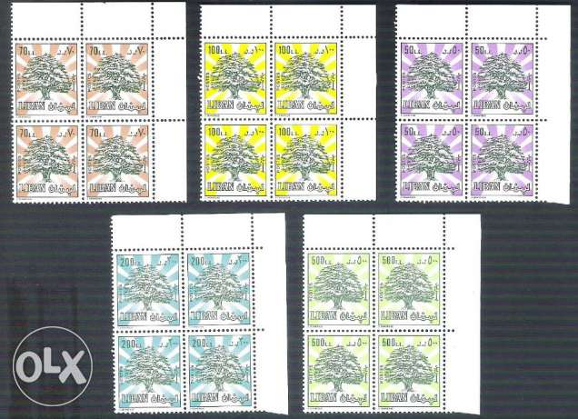 CORNER 5 MNH Blocks of 4 Stamps 1989 Cedars Cedar LEBANON LIBAN