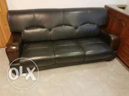 Office sofa black leather with wood