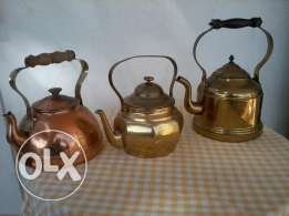 big teapots old, copper hand made, from Germany, prices 20-25$
