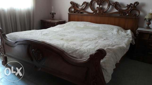 Double massif wood bed + big 6 door closet + chiffonniere +oval mirror