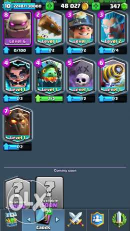 Clash Royale account for sale arena 11 level 10 with 8 legendaries