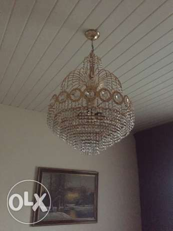 2 chandeliers crystal gold plated