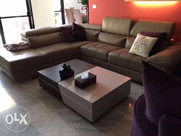 Leather L-Shaped Couch with FREE Armchair and Table