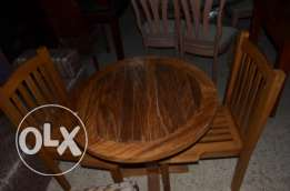 set of solid wood table and chair