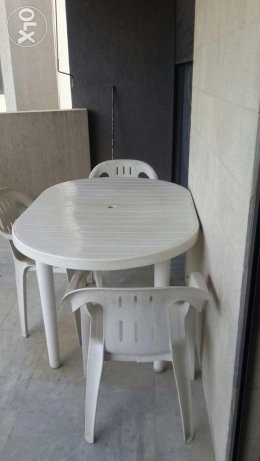 Outdoor plastic table set