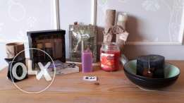 Collection of scented candles, tealights, & diffusers