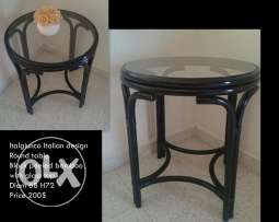 Italian round table with glass top