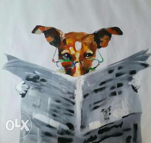 Oil painting - Dog reading newspaper - 60 x 60 cm