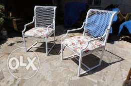 Two Steel Chairs White For Garden