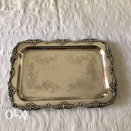 2 Rectangular silver plated serving plates for sale
