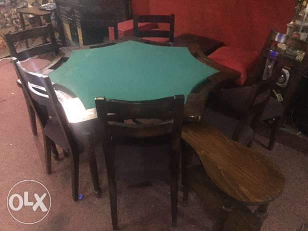 Cards Table With 7 Chairs and 7 Small Tables