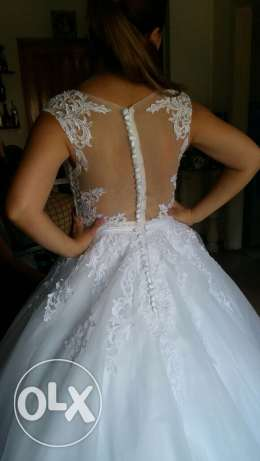 dressFor rent wedding dress hight quality used once white color كسروان -  1