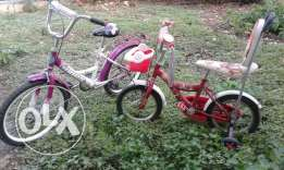 Two kids bikes one boy 7yrs and girl 13 yrs