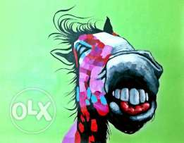 Oil painting - Funky Horse - 60 x 60 cm