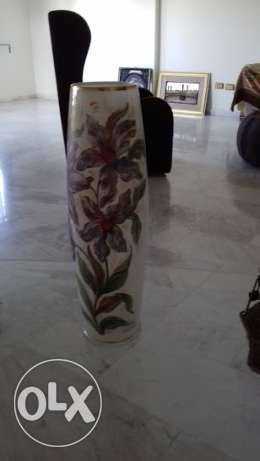 opaline vase handmade painting on it from italy