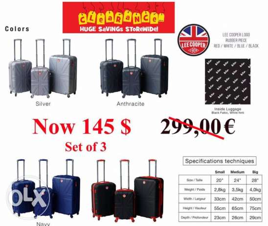 Lee cooper Travel Luggage 3 sets. شنط سفر ماركة Lee Cooper 3 شنط