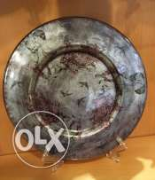 Hand painted plate antique silver