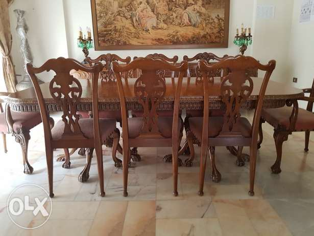 Dining Table Set, 10 Chairs with Buffet, Handcrafted Italian Design