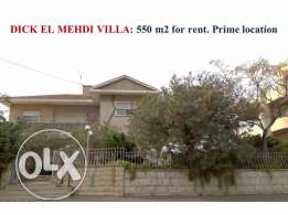 Dick El Mehdi villa for rent 550 m2 prime location open views