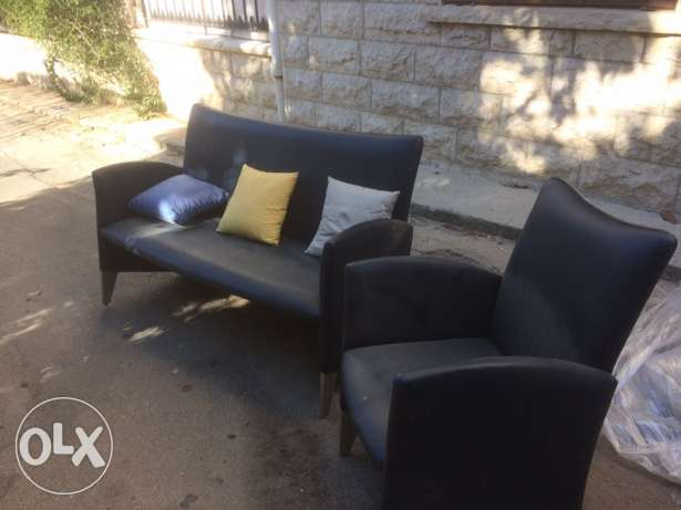 leather sofa and feauteuil الشوف -  1