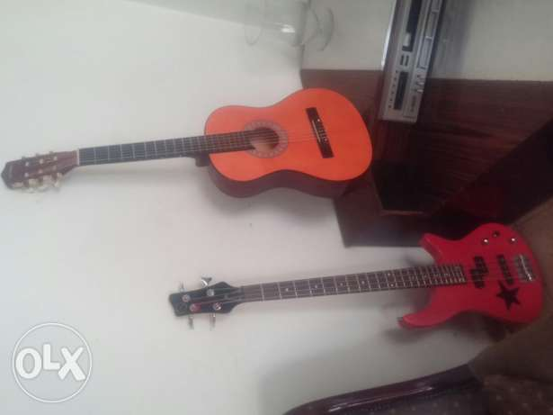 Electric Bass guitar and classic guitar