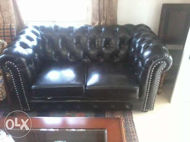 Amazing Real Leather Saloon, Black, design Chesterfield, 3 pieces, المتن -  3