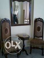 Antique Massif wood, 2 long chairs with gueridon Table and bi Mirror