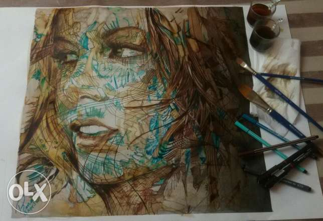 Painting done by water colors, tea and coffee