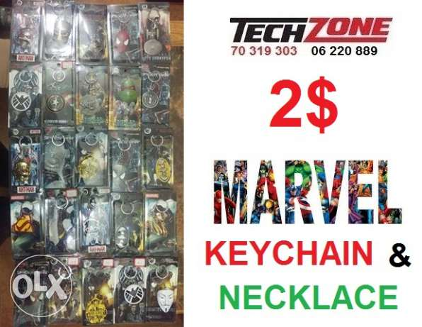 marvel necklas and keychain
