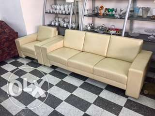beige leather salon