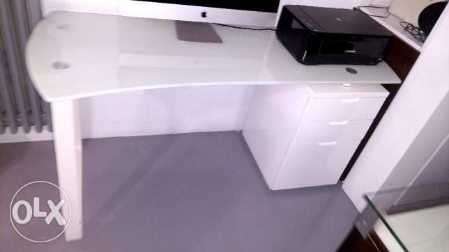 White Glass Office Desk w/ Drawers