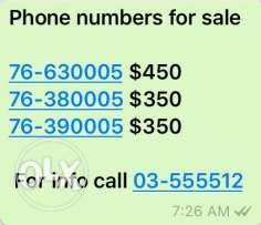 numbers for sale
