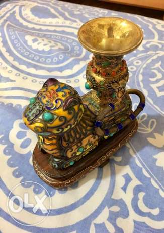antique solid silver 900 and enamel Chinese lion incense burner