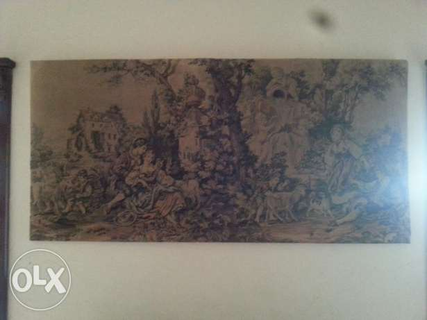 Huge antique fabric painting in good condition لوحة قماش انتيكة