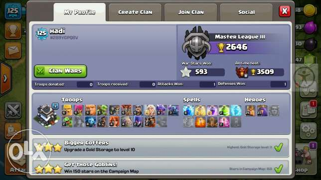 clash of clan coc th9 max + clash royale lvl 9 for trade or sale