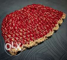 Red and gold crochet baby winter hat