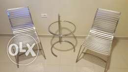 Two Chairs stainless steel and tables rarely used and very new