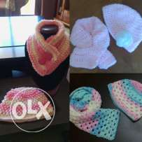 Handmade scarf and hat for babies and toddlers.