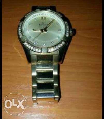 Silver and gold watch