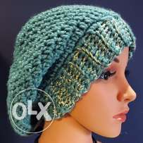 Slouchy handmade petroleum green and gold beanie hat