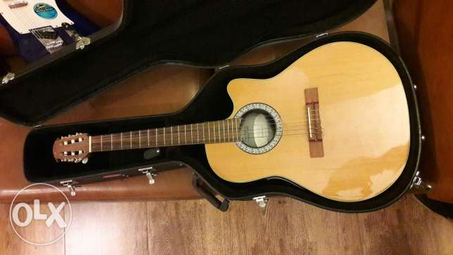 Ovation nylon electric guitar with hard case